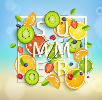 Summer background with tropical fruits and berries, square frame and the lettering summer. Vector illustration.