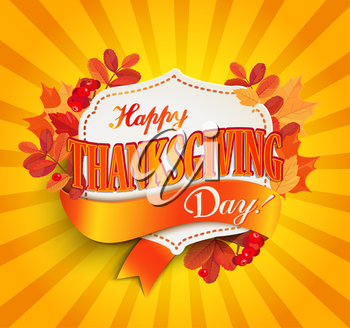 Happy thanksgiving day - autumn background with vintage frame with text. EPS 10 vector illustration.