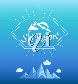 Vector mountain emblem in outline style. Geometric crystal mountain and clouds.