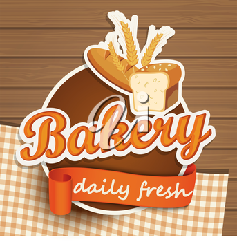 Bakery vintage bread sticer with ribbon and wooden background, vector illustration.