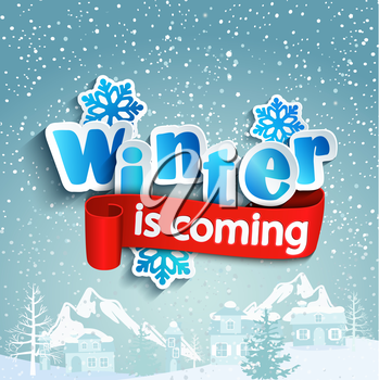 Winter background with lettering and ribbon, against the snow-covered village, vector.