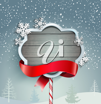 Winter background with vintage frame and ribbon, vector.