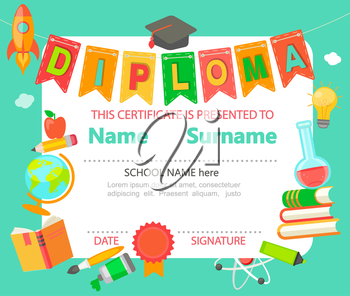 Kindergarten Preschool Elementary school Kids Diploma certificate background design template - vector illustration.