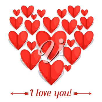 Greeting card with paper hearts. Concept can be used for Valentines Day, wedding or love confession message.