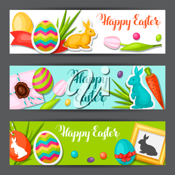 Happy Easter banners with decorative objects, eggs, bunnies stickers. Concept can be used for holiday invitations and posters.