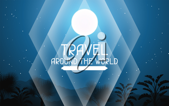 Travel around the world. Tropical background with landscape, moon and palm trees.