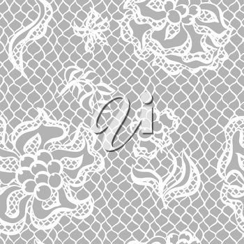 Seamless lace pattern with flowers. Vintage fashion textile.