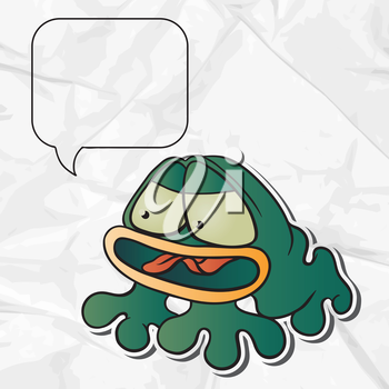 Crumpled paper background with vector frog
