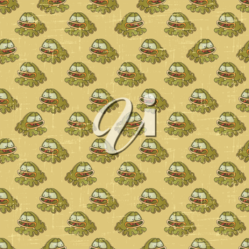 Vintage vector seamless pattern with cartoon frogs.