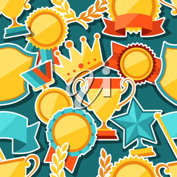 Seamless pattern with trophy and awards stickers.