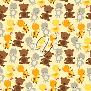 Seamless pattern with baby cat bear fox and duck