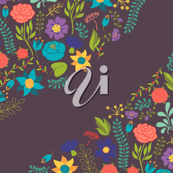 Romantic background of various flowers in retro style.