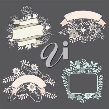 Set of design elements with ribbons, labels and flowers.