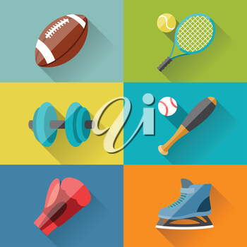 Sport icons in flat design style.