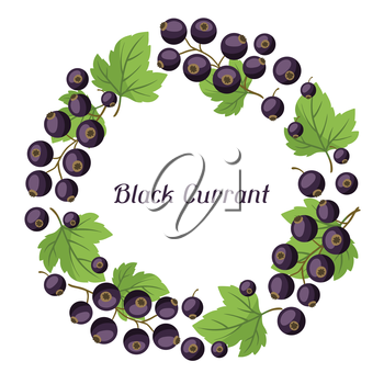 Nature background design with stylized fresh black currants.