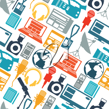 Seamless pattern with journalism icons. Mass media and press conference concept symbols in flat style.