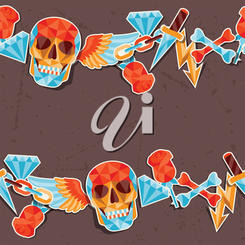 Seamless background with skull and elements.