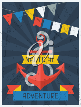 Nautical Adventure. Retro poster in flat design style.