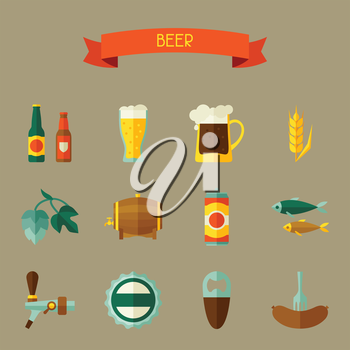 Beer icon and objects set for design.