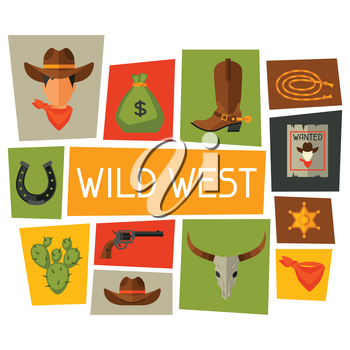 Wild west background with cowboy objects and design elements.