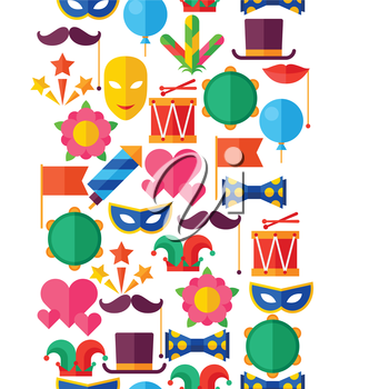 Celebration seamless pattern with carnival flat icons and objects.