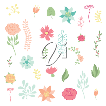 Set of various stylized flowers and elements.