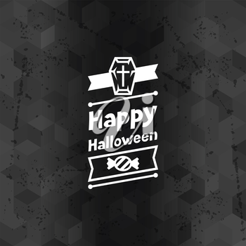 Happy halloween greeting card with badges ang icons.