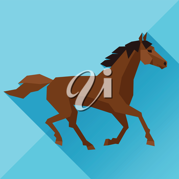 Background with horse running in flat style.