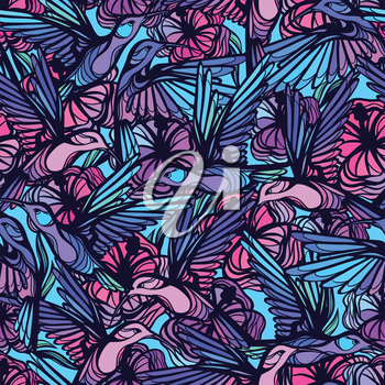 Flying tropical hummingbirds with flowers seamless pattern.