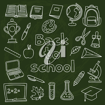 School and education set of hand drawn icons on chalk board.