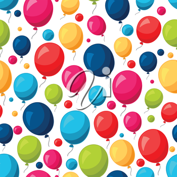 Celebration festive seamless pattern with colorful balloons.