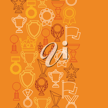 Awards and trophy sport or business line icons seamless pattern.