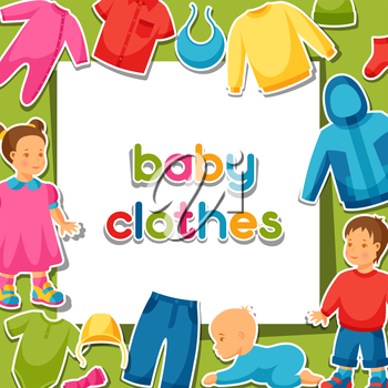 Baby clothes. Background with clothing items for newborns and children.