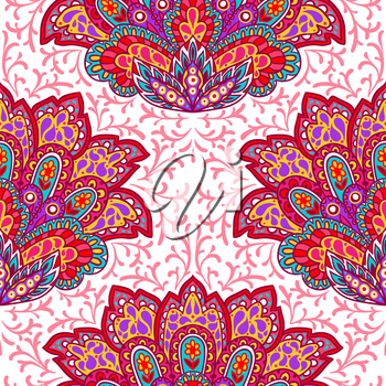 Indian ethnic seamless pattern with hand drawn ornament.