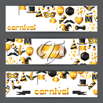 Carnival banners with gold icons and objects. Celebration party backgrounds.