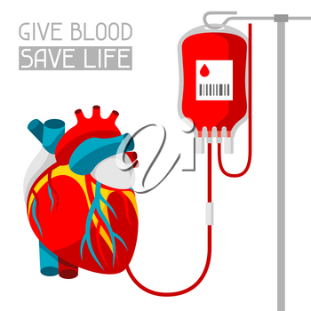 Donate blood. Medical and healthcare illustration of human heart.
