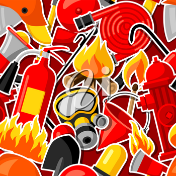 Seamless pattern with firefighting stickers. Fire protection equipment.