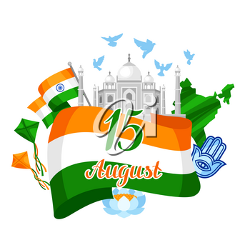 India Independence Day greeting card. Celebration 15 th of August.