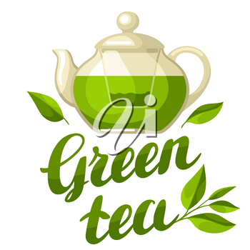 Green tea. Illustration with kettle of tea and hand written lettering text.