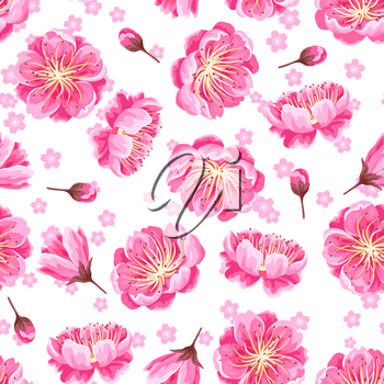 Seamless pattern with sakura or cherry blossom. Floral japanese ornament of blooming flowers.