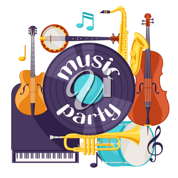 Jazz music party retro background with musical instruments.