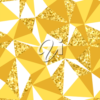Abstract geometric seamless pattern with goldglitter texture.