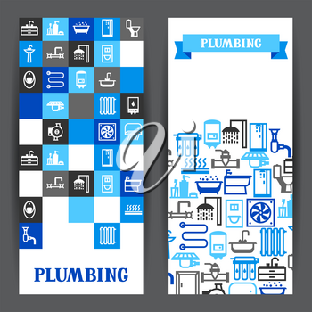 Plumbing banners design. Illustration for sanitary engineering shop. Sale, service and installation.