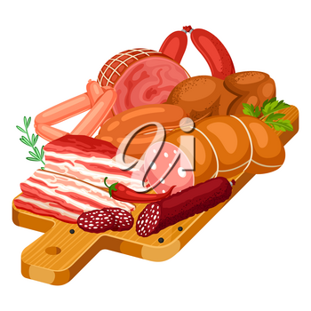 Illustration with meat products on wooden cutting board. Illustration of sausages, bacon and ham.