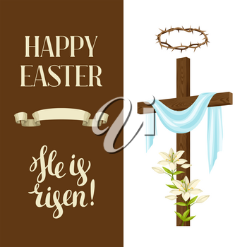 Wooden cross with shroud, lily, crown of thorns. Happy Easter concept illustration or greeting card. Religious symbols of faith.