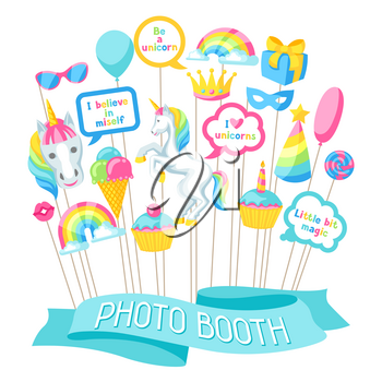 Happy birthday photo booth props. Fantasy items and objects for festival and party.