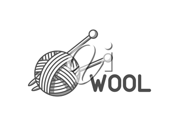Wool emblem with with ball of yarn and knitting needles. Label for hand made, knitting or tailor shop.