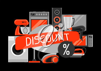 Discount background with home appliances. Household items for shopping and advertising flyer.