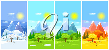 Four seasons landscape. Banners with trees, mountains and hills in winter, spring, summer, autumn