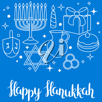 Happy Hanukkah celebration card with holiday objects.